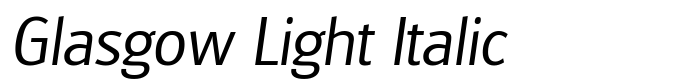 шрифт Glasgow Light Italic